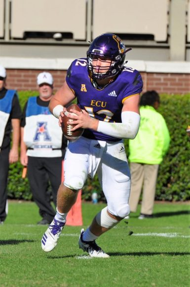 Although ECU threw almost exclusively late in the game, Holton Ahlers had 17 carries for 57 yards. (Photo by Al Myatt)