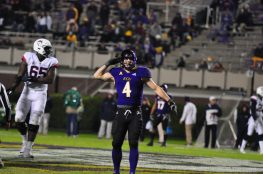 Senior linebacker Cannon Gibbs gives a salute to the Boneyard after a sack against Connecticut on senior night. (Photo by W.A. Myatt)