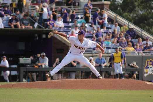 Jake Kuchmaner started on the mound for the Pirates. (Photo/Dunn Area Sports/Paul Burgett)