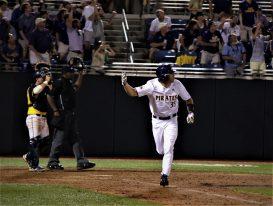 Bryson Worrell starts around the bases on an eighth-inning home run. (Photo/Dunn Area Sports/Paul Burgett)