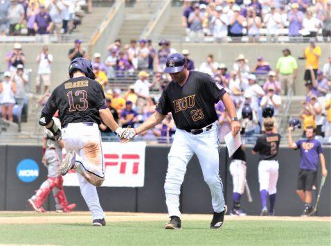 Former ECU catcher Cliff Godwin congratulates Jake Washer on a 2-run homer in the seventh. (Photo/Dunn Area Sports/Paul Burgett)