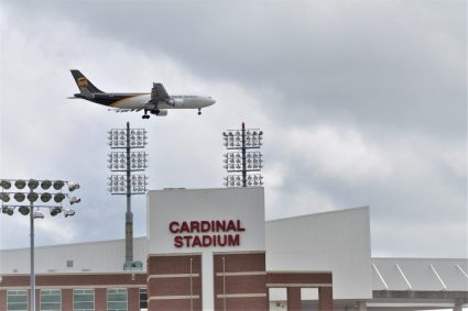 Airplanes are regularly visible around Louisville's athletic complex. (Photo by Al Myatt)