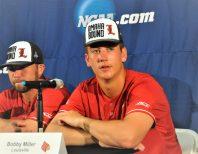 Bobby Miller (right) of Louisville held ECU hitless for eight innings Saturday. (Photo by Al Myatt)