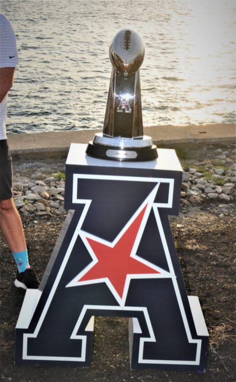 The teams in the AAC will be competing for the trophy, which was on display by the bay. (Photo by Al Myatt)