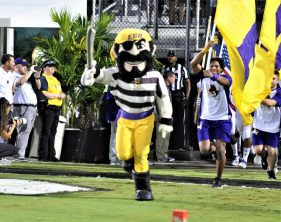 The Pirate leads East Carolina onto the field at Spectrum Stadium in Orlando (Al Myatt photo)