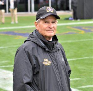 Former ECU defensive coordinator Rick Smith was on the sideline on Saturday. (Photo by Al Myatt)