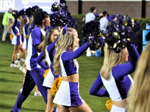 The East Carolina cheerleaders had something to be excited about on Saturday night (Al Myatt photo)