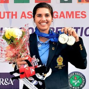 Grace after winning her gold medal at the South Asian Games