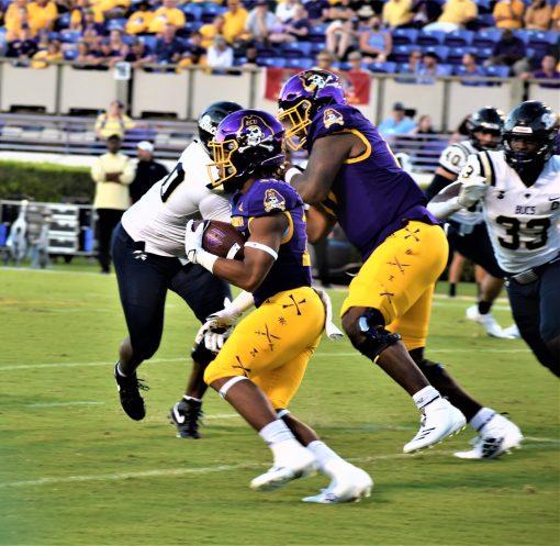 Keaton Mitchell heads upfield on a 74-yard touchdown run. (Al Myatt photo)