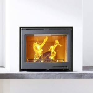 Contura i5 wood burning fire insert built into a wall