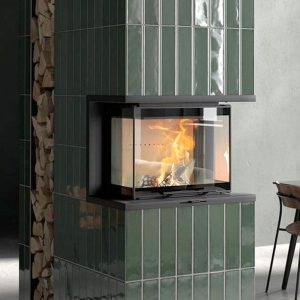 contura i60 wood burning fire insert built into a wall
