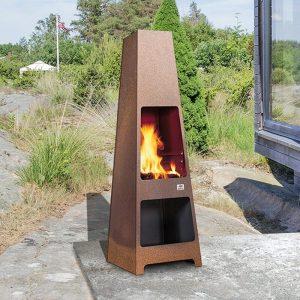 Jotul Loke outdoor wood stove on a patio