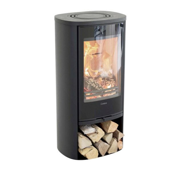 Contura 810G Wood Burning Stove in black with log storage