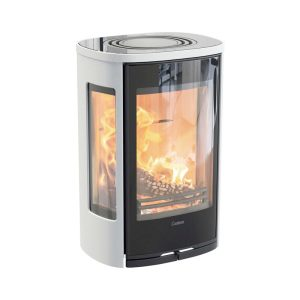 Contura 856GW Wood Burning Stove in white and black