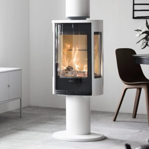 Contura 886g style wood burning stove in black and white