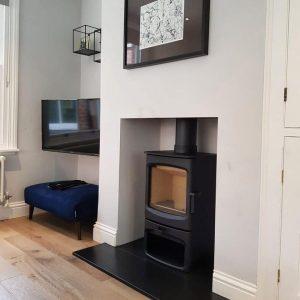 Charnwood Aire 5 wood burning stove & slate hearth