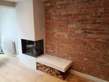 Inset Corner Fire with chimney breast