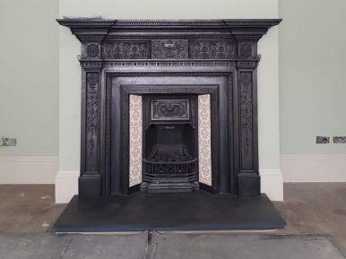 Reclaimed Cast Open Fire Installation