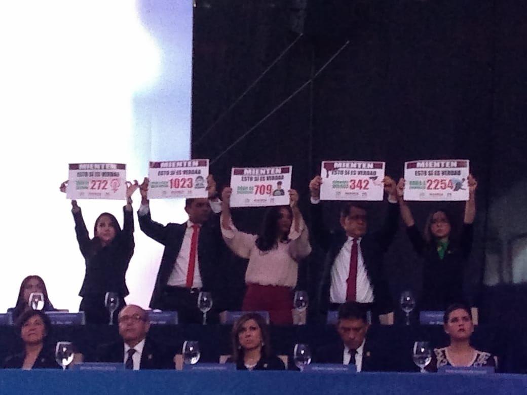 Regidores exhiben carteles en el informe de Héctor López Santillana