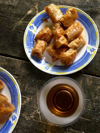 Homemade baklava and hot tea at Duf waterfall - Real Food Adventure Macedonia and Montenegro