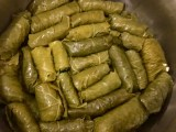 Freshly rolled dolmades ready for cooking - Athens Cooking Lessons