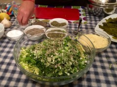 Chopped ingredients for zucchini balls - Athens Cooking Lessons