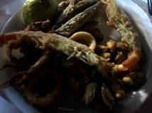 Fried anchovy, calamari, mussels and shrimp