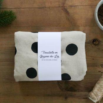 bouillotte sèche en graines de lin sérigraphie à pois (1)