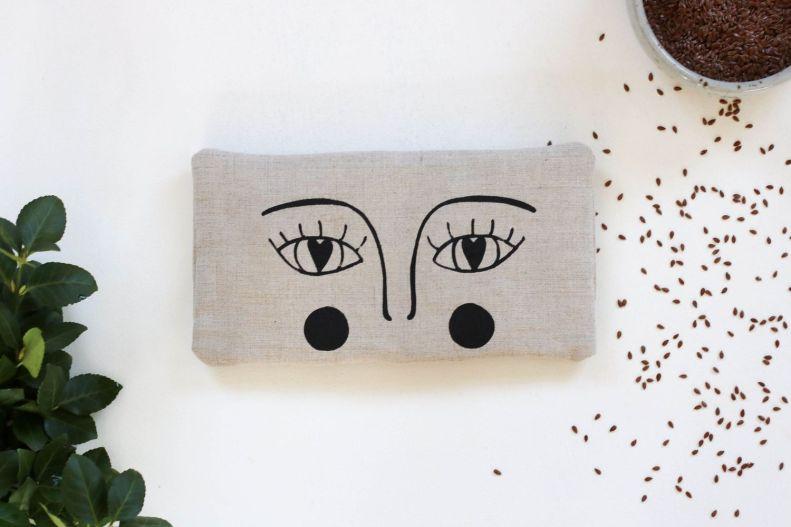 bouillotte sèche en graines de lin yeux masque apaisant compresse chaude (4)