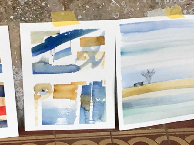 Some of Silvia's watercolour paintings during the workshop at Bonnevaux