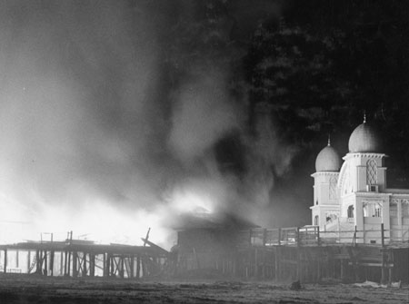 Photo of Saltair II taken during the fire of 1970.  (courtesy Utah State Historical Society)
