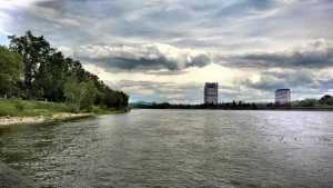 Rhein. Looking south towards the Post Tower with the United Nations building in front of it.