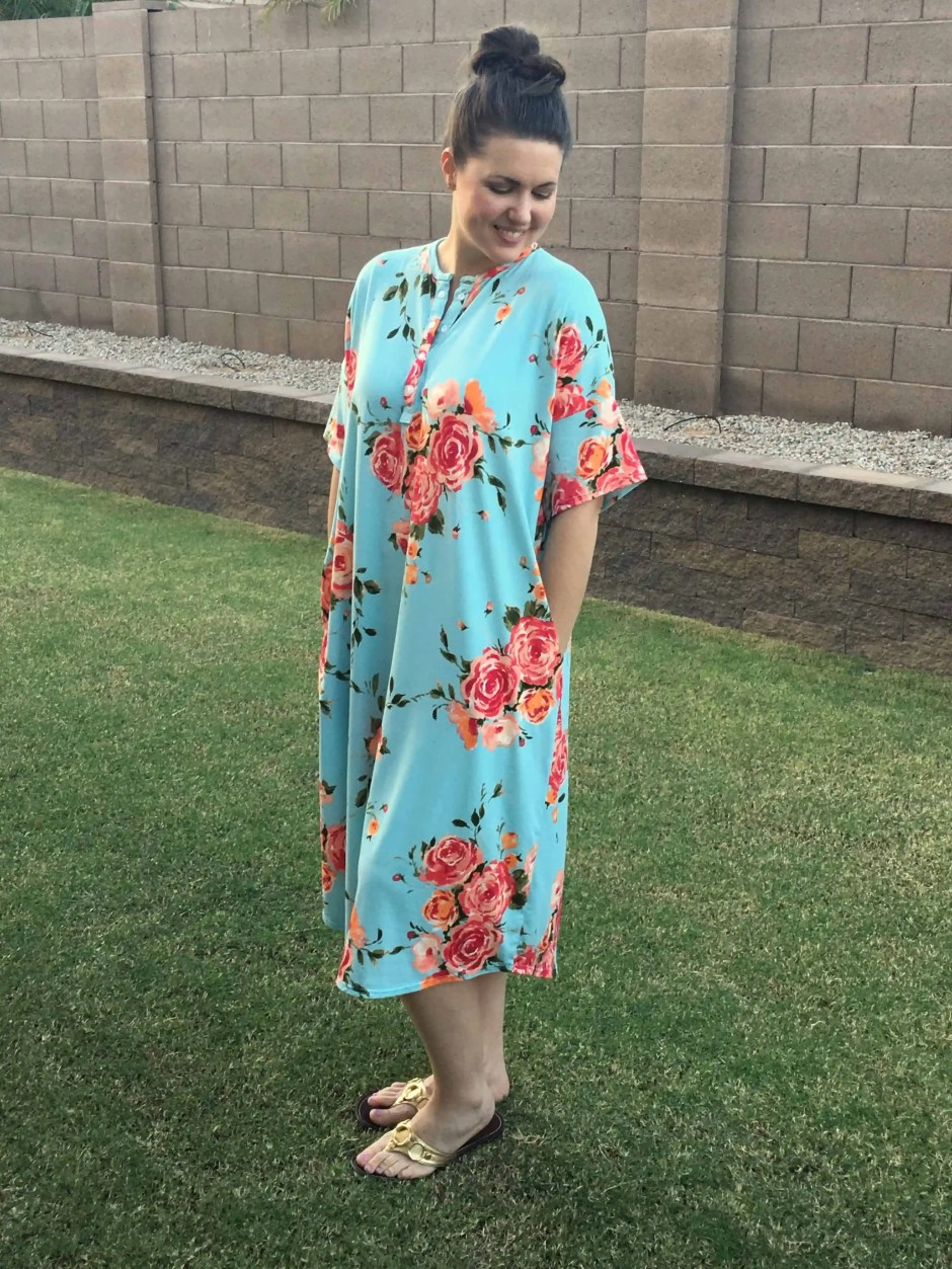 Free women's sewing pattern: Make this dress as a nightgown, lounge dress or just a quick outfit for any day of the week.  This sewing pattern is a great, beginner friendly project for stretchy, comfortable knit fabrics. Also includes an optional placket to make it nursing friendly!
