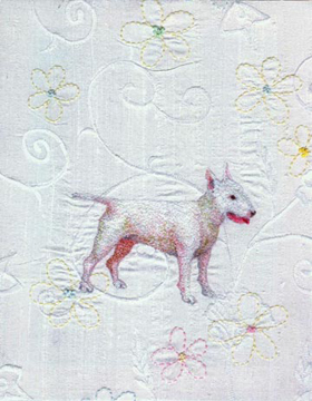 Pickie dreams of a better world embroidery on silk