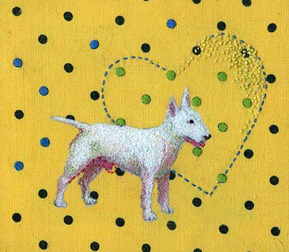 Puppy dog love embroidery on linen