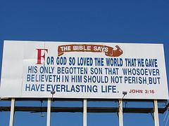 One billboard with John 3:16 on it.