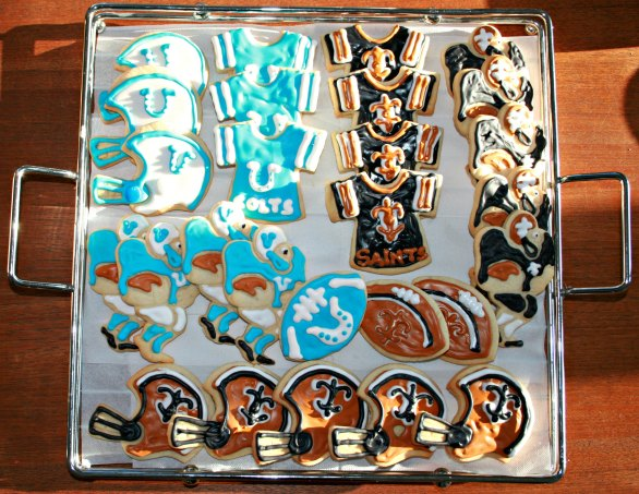 saints vs colts superbowl sugar cookies