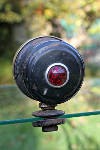1920s cowl light clear glass red jewel lens on rear