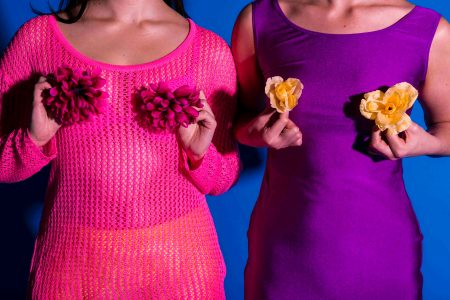 Close up image of the torso of two females, one wearing a pink jumper holding pink flowers in front of her breasts, the other wearing a purple dress holding yellow flowers in front of her breasts.