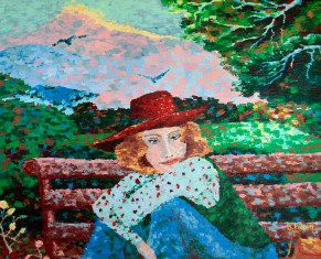 Daydreamer in the Square, with red hat