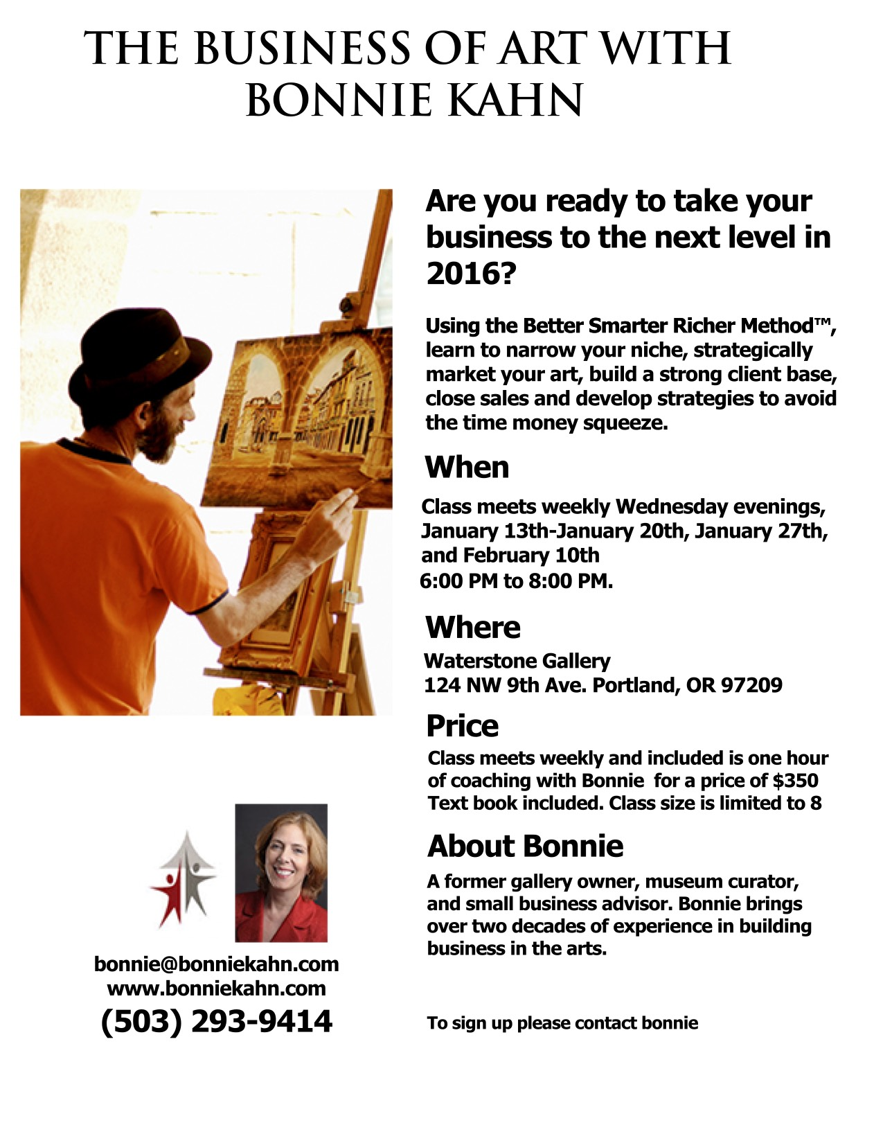 Flyer for Waterstone Gallery