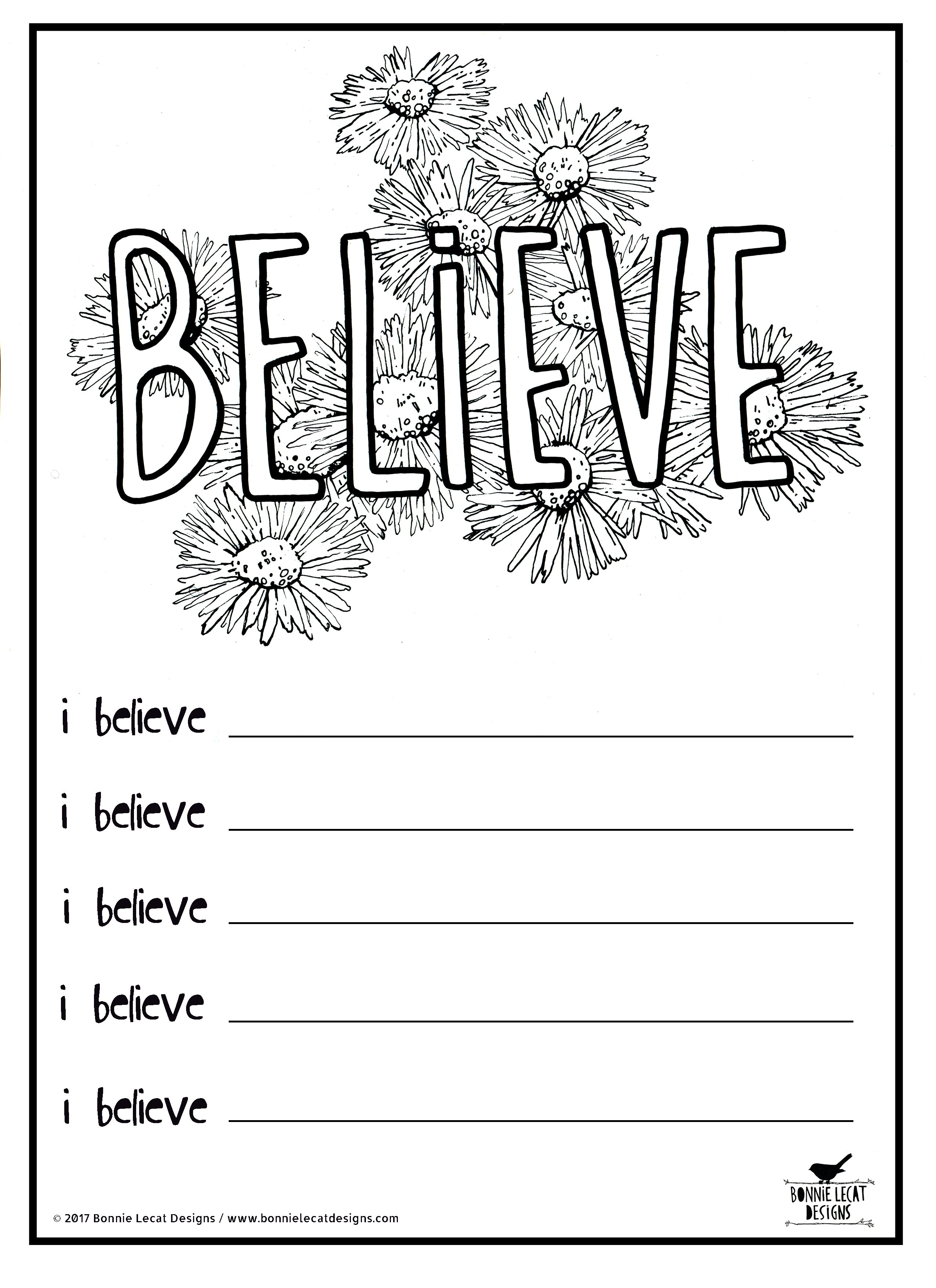 Free Printable Believe Coloring Or Journal Page