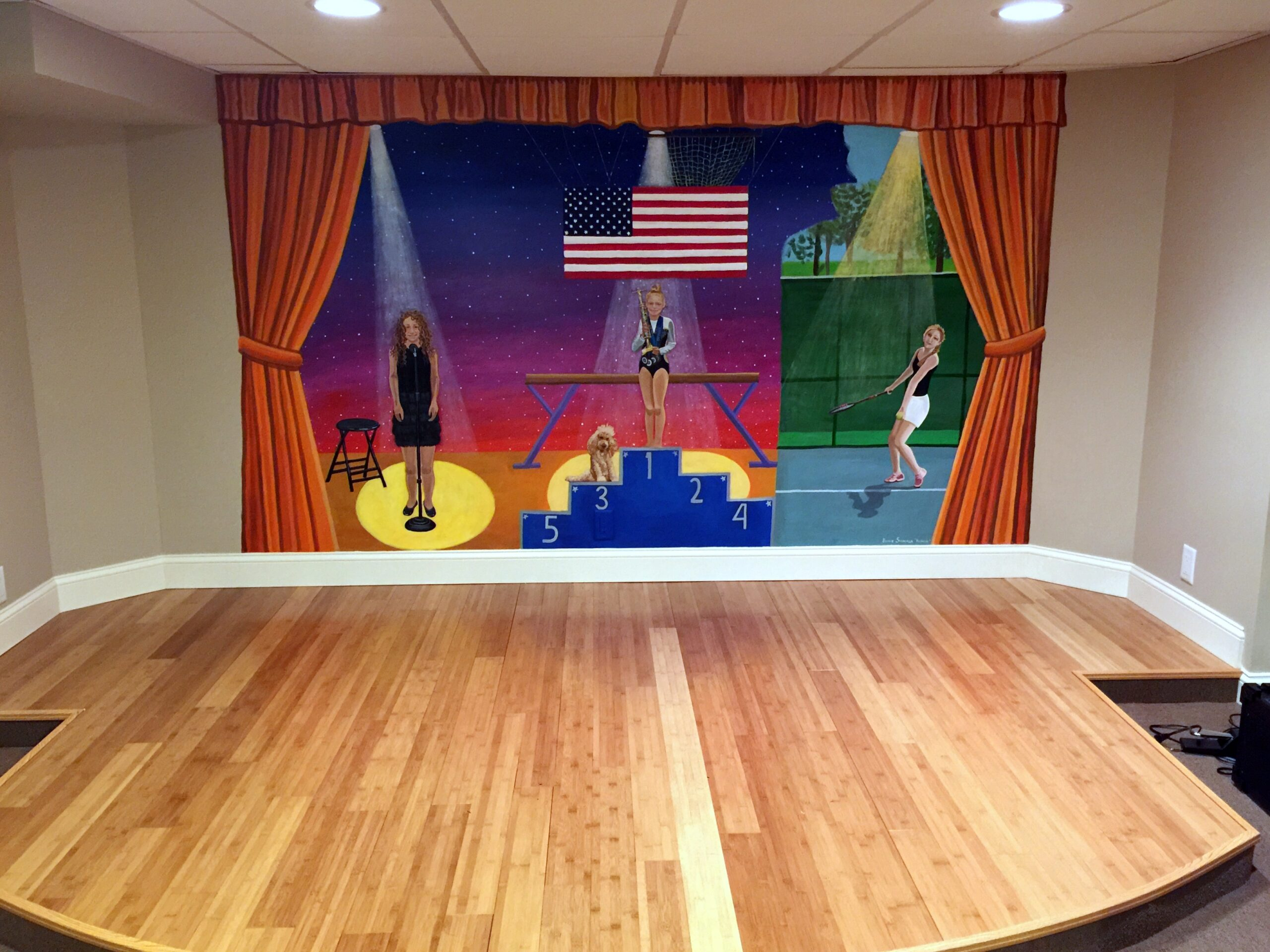 playroom stage mural for 3 girls roslyn new york
