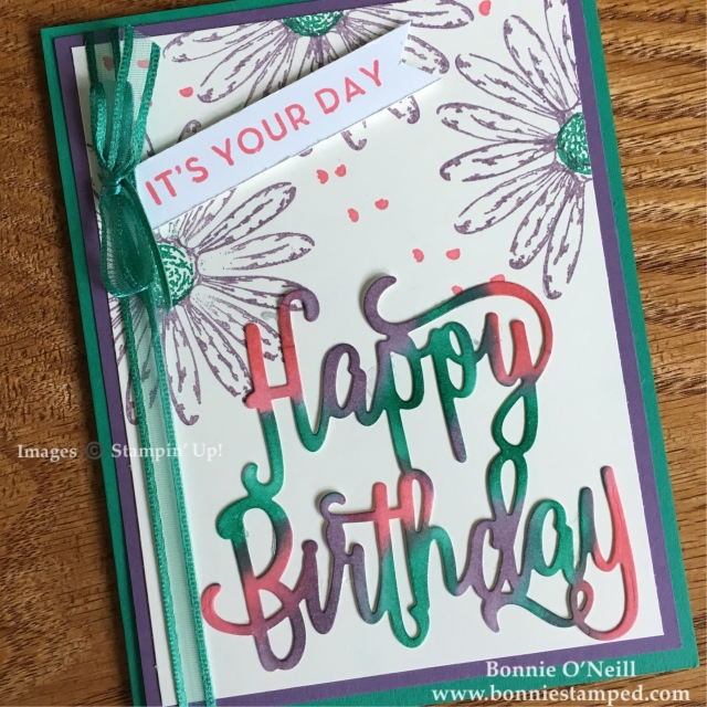 #bonniestamped #colorfusers #stampinup #daisydelight #happybirthdaythinlits