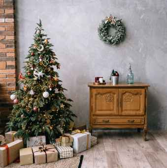 cozy room with christmas tree and decorations