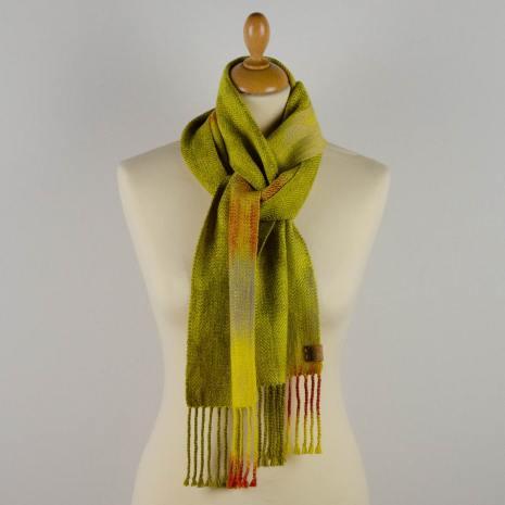 Bonny Claith Autumn Leaves scarf olive yellow-0018-min
