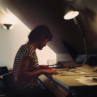 Rachel Deville dans son atelier - Photographie Alain François