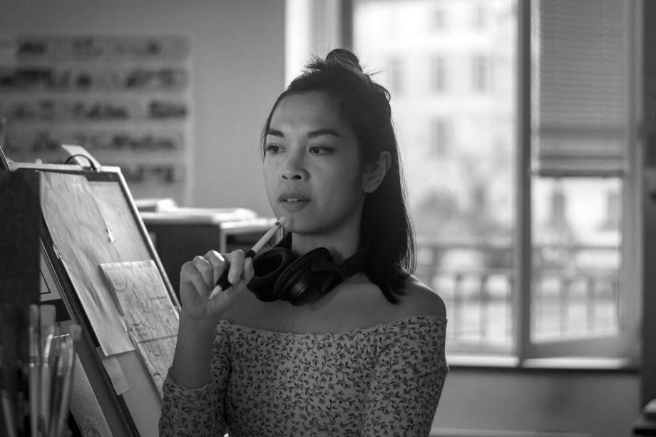 Christine Villanueva dans son atelier