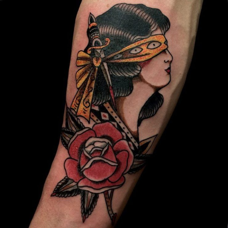 traditional tattoo of a Rose and a lady head