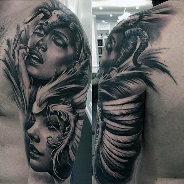 black and grey tattoo of woman wearing skull